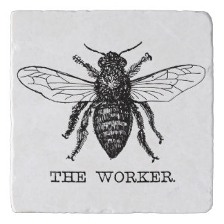 Vintage del abejorro de la abeja de trabajador de salvamanteles