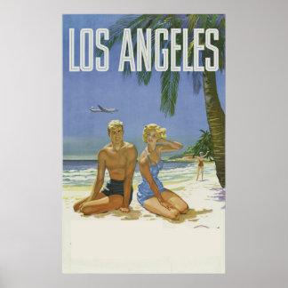 Vintage del anuncio del viaje de Los Ángeles Póster