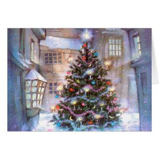 Vintage del árbol de navidad tarjeta de felicitación