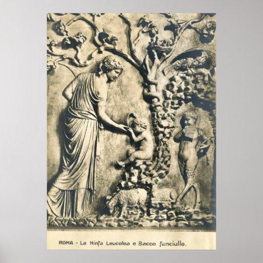 Vintage del arte de la ninfa, del Bacchus y del ni Poster