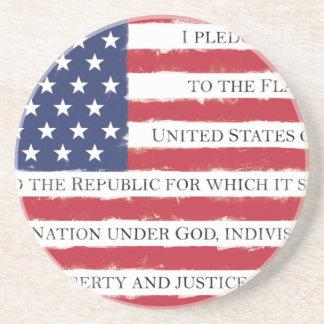Vintage del compromiso de la bandera americana posavasos de arenisca