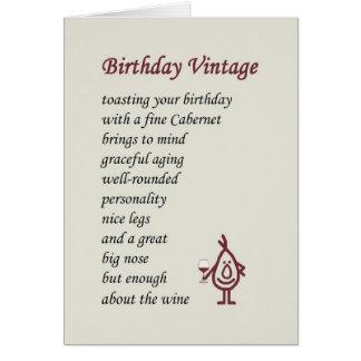 Vintage del cumpleaños - un poema divertido del cu tarjeton