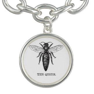 Vintage del ejemplo de la abeja reina pulsera con dije
