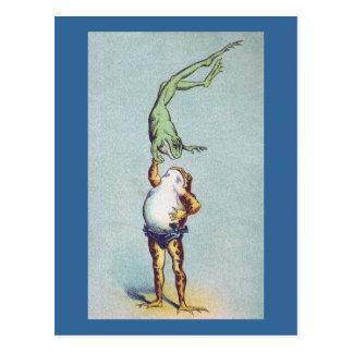 Vintage del ejercicio de equilibrio de la rana postal