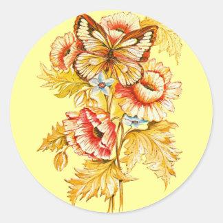 Vintage del ganador del TBA floral Pegatina Redonda