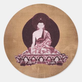 Vintage del Grunge de Shakyamuni Buda Etiqueta Redonda