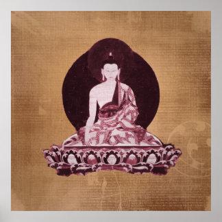 Vintage del Grunge de Shakyamuni Buda Póster