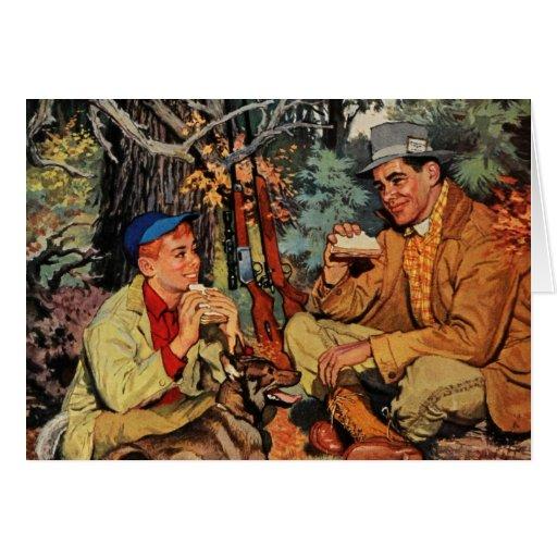 Vintage del muchacho del hijo del papá de la caza  tarjeta