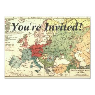 Vintage del mundo de los países del mapa de Europa Invitación 11,4 X 15,8 Cm