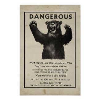 Vintage del oso del parque de Yellowstone que advi Póster