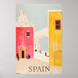 Vintage del poster del viaje de España Póster