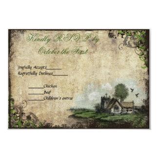 Vintage del verde de la iglesia del vintage que invitación 8,9 x 12,7 cm