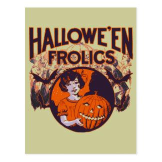 Vintage divertido de Halloween Postal