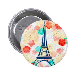 Vintage Eiffel Torre-París Chapa Redonda De 5 Cm