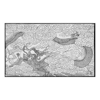Vintage - ejemplo de un dragón póster