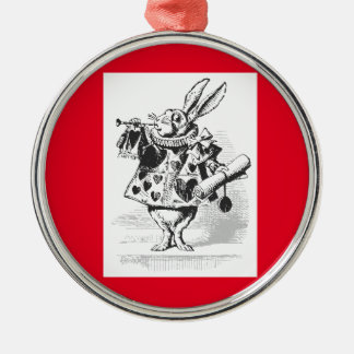 Vintage, el ornamento blanco del conejo adorno navideño redondo de metal