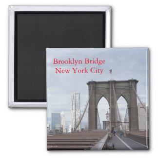 Vintage el puente de Brooklyn en New York City Imán Cuadrado