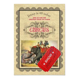 Vintage elegante del CIRCO de la invitación Invitación 12,7 X 17,8 Cm