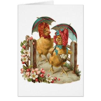 Vintage feliz de las gallinas de Pascua Tarjeta