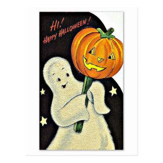 Vintage feliz Halloween del fantasma y de la calab Tarjeta Postal