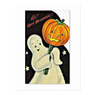 Vintage feliz Halloween del fantasma y de la Postal