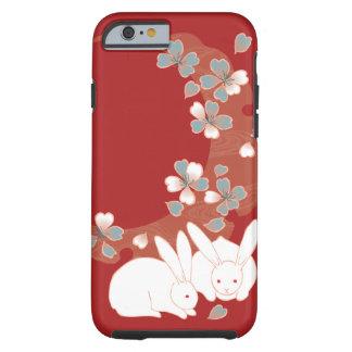 Vintage femenino lindo del conejo blanco funda de iPhone 6 tough