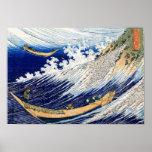 Vintage fino japonés de las olas oceánicas de Hoku Poster