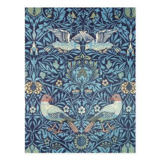 Vintage floral de la tapicería azul de los pájaros postal