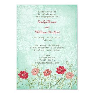 Tarjeta Vintage floral e invitación de las hojas (5x7)