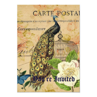 vintage floral elegante París del birdcage del Invitación 12,7 X 17,8 Cm