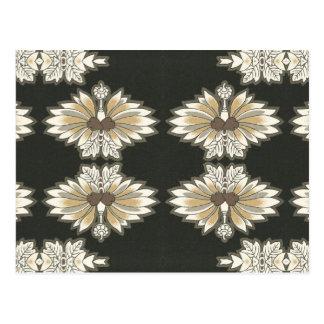 Vintage floral en oro y negro postal