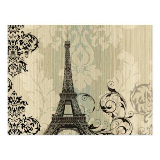 vintage floral París de la torre Eiffel elegante Postal