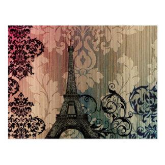 vintage floral París de la torre Eiffel elegante Tarjetas Postales