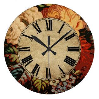 Vintage floral reloj redondo grande