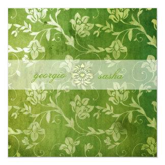 Vintage floral verde magnífico de la CROMATOGRAFÍA Invitación 13,3 Cm X 13,3cm