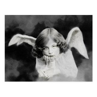 Vintage foto ángel postal