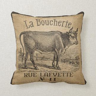 Vintage francés de la arpillera de la vaca de almohada