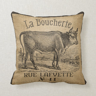 Vintage francés de la arpillera de la vaca de cojín