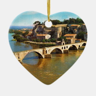 Vintage Francia, Aviñón; puente quebrado Adorno De Cerámica En Forma De Corazón