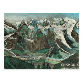 Vintage Francia, Chamonix, Mont Blanc Postal