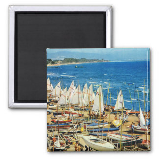 Vintage Francia, puerto de Hyeres, Var, barcos de  Imán Cuadrado