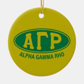 Vintage gamma alfa de rho el   adorno navideño redondo de cerámica