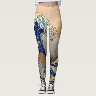 Vintage, gran onda, 葛飾北斎の神奈川沖浪 de Hokusai Leggings