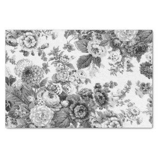 Vintage gris negro y blanco Toile floral No.3 del Papel De Seda