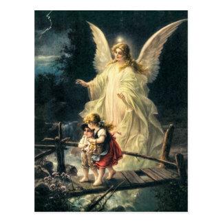 Vintage guardas ángel niño y en puente postal
