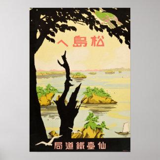 Vintage hacia el viaje de Matsujima Japón Póster