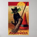 Vintage Halloween con un gato negro, una escoba y  Poster