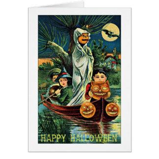 Vintage Halloween de la calabaza del fantasma del  Tarjeta De Felicitación