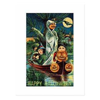 Vintage Halloween de la calabaza del fantasma del Postal