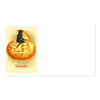 Vintage Halloween del diablo de la linterna de Jac Plantilla De Tarjeta De Visita